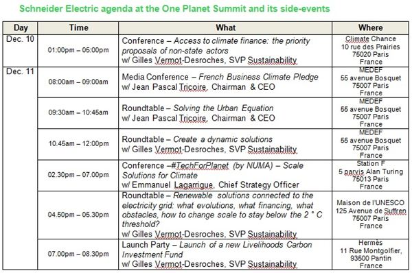Schneider Electric accelerates fight against climate change at One Planet Summit